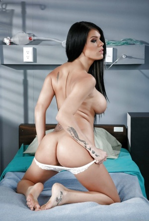 Brunette pornstar Peta Jensen flashing white panties and underboobage