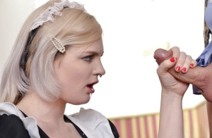 Blonde Euro maid Carly Rae taking rough face fucking in hardcore MMF 3some