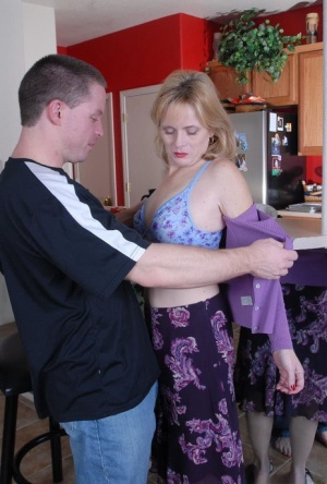 Older mom Pandora spreading for close up creampie pussy in kitchen