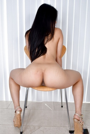 Asian first timer Cindy Starfall revealing phat ass and shaved snatch
