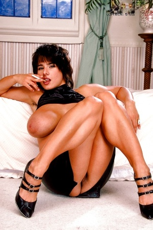 French MILF Chloe Vevrier unveils massive tits and hairy cunt in high heels