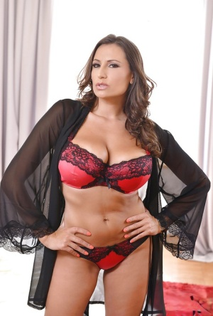 Busty Euro mom Sensual Jane sliding panties aside to expose trimmed muff 81609412