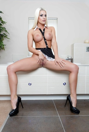 Blonde maid Blanche Bradburry letting large tits and ass loose from uniform 89396726