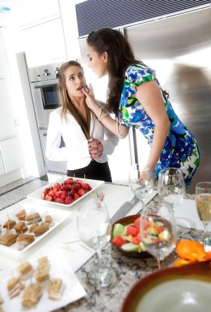 Lesbian pornstars Jelena Jensen and Kimmy Granger bare beavers in kitchen