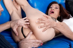 Petite Asian granny Kim Anh giving head before deep anal penetration