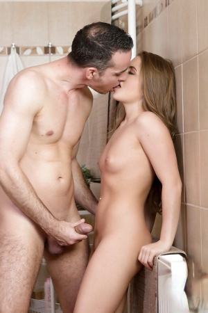 Pretty Euro teenager Alessandra Jane getting fucked in the bathroom