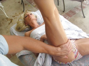 MILF babe Giselle Monet gets stretched and fucked while a massage