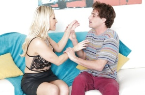 Blonde cougar in black skirt Ashley Fires seduces young guy and sucks his cock