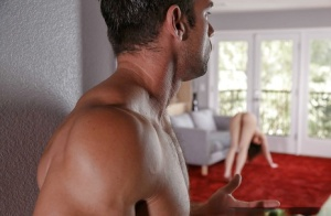 Naked Aidra Fox throats cock in amazing modes until getting splashed hard
