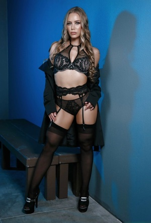 Pornstar Nicole Aniston modeling in sexy stocking and lingerie combo 66378837