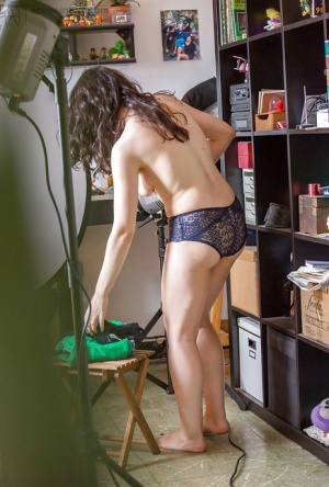 Brunette first timer Irene A covering naked body with lingerie and shorts 56808820