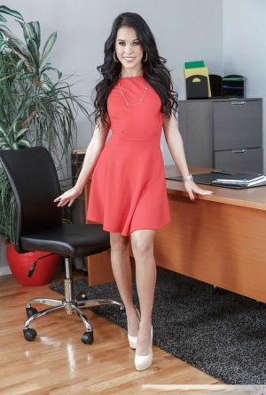 Cute brunette chick Megan Rain stripping naked atop desk in office 41733285
