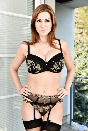 Busty MILF in black lingerie Carol Gold masturbates with fingers and a sex toy 67717053