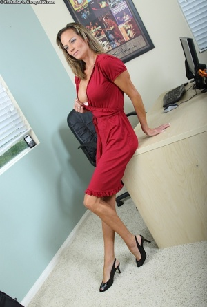 Business woman Montana Skye expands her horizons by modeling naked in office