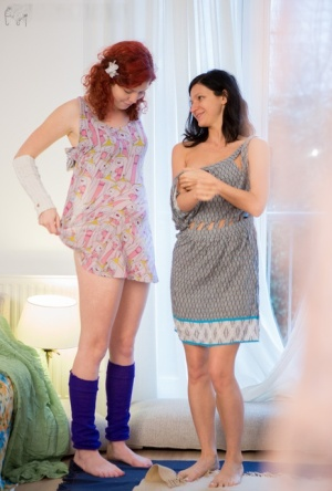 Amateur dykes Cornelia and Katerina G dress each other after having sex