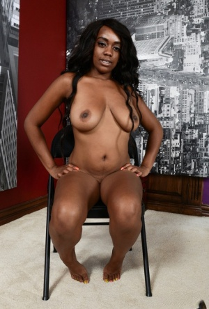 Black amateur Amber Cream is all smiles while showing off her naked body