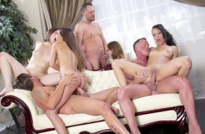 Roomful of hot pornstars quickly turns into a full blown orgy not surprisingly