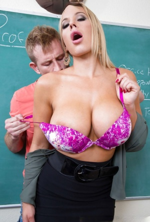 Olivia Austin enjoys college student's huge cock in her tight pussy