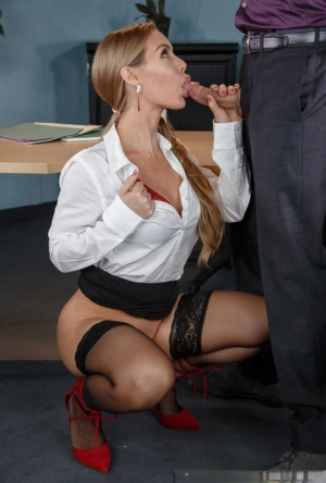 Beautiful secretary Nicole Aniston seduces her boss and gives him oral sex 63764252