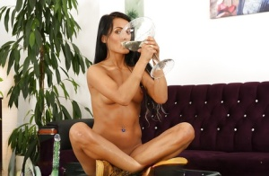 European pornstar Lexi Dona pissing into a glass and drinking own pee