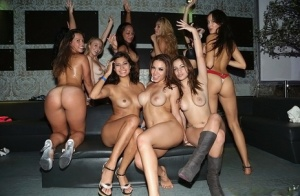 Hot Latina females fuck each other and the guys during orgy sex in swing club