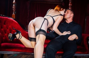 Pale redhead Amarna Miller takes off her dress while seducing her man