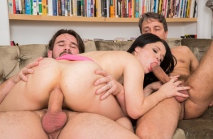 Brunette pornstar Yhivi gets her asshole drilled and mouth fucked by two cocks