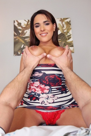 Busty Latina beauty Valery Summer sucks the sperm out of her guys penis