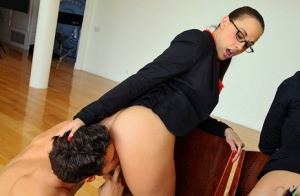 Businesswomen Brooklyn Lee  Chanel Preston hike skirt for sex with employees