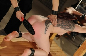 Restrained female screams in pain as she is tortured and masturbated