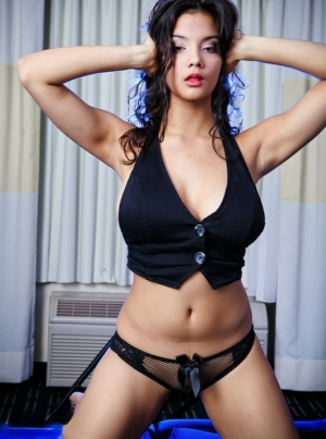 Beautiful Indian female with a pretty face models sheer panties