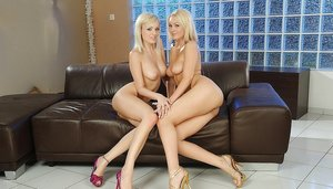 Lesbian babes with big boobs Antonya and Bianca Golden toying pussy
