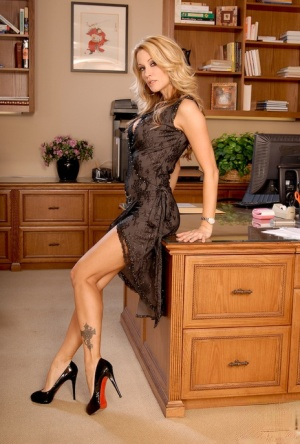 Horny MILF in lacy lingerie jessica drake stripteasing in the office