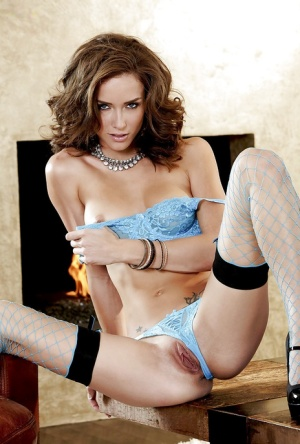 Sexy babe Malena Morgan taking off her lingerie and masturbating her cunt