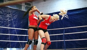Seductive sporty lesbians pleasuring each other after catfight 59687680