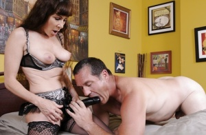 Mature babe Alexandra Silk gets banged and fucks a horny guy by strapon