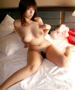 Big busted asian babe stripping off her lingerie and playing with herself