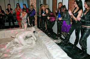 Fully clothed european fetish chicks are into mud wrestling 60730293