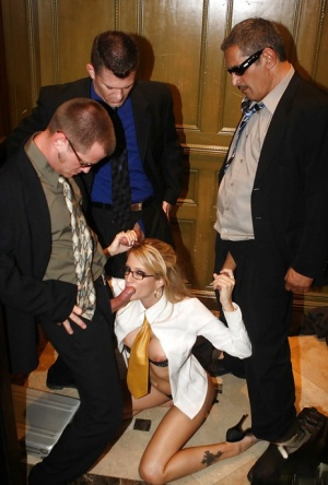 Horny office babe in glasses Jessica Drake gets blowbanged by three guys 81151452