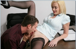 Bossy big titted blonde Camryn Cross fucked hard on the office table