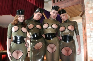 Petite fetish gals with sexy fannies posing in latex outfit 21014289