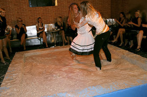 Tempting european gals make some messy fully clothed catfight action