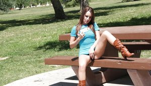 Filthy teen Jenna Rose masturbating her pussy in a public place