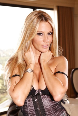 Adorable MILF Jessica Drake stripping and teasing her soft pussy
