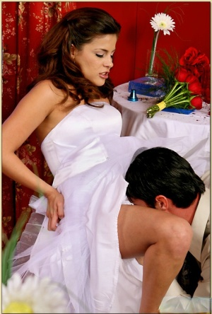 Latina MILF Michelle Avanti stripped from a wedding dress and fucked
