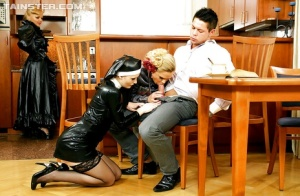 Jenna Lovely enjoys fully clothed role play groupsex with her friends