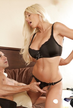 Steaming hot blonde cougar with round jugs gets fucked and jizzed over her ass