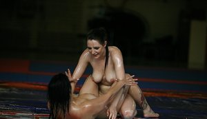 Lusty brunettes have an oily catfight ending with a lesbian sex 96984735