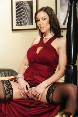 Busty MILF Kendra Lust undressing and spreading her nylon clad legs 59718028