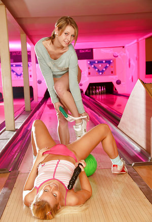 Saucy teenage floosies have a passionate lesbian sex in the bowling club